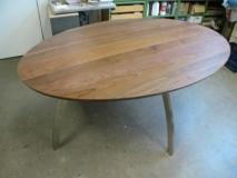 ovale tafel noten RVS